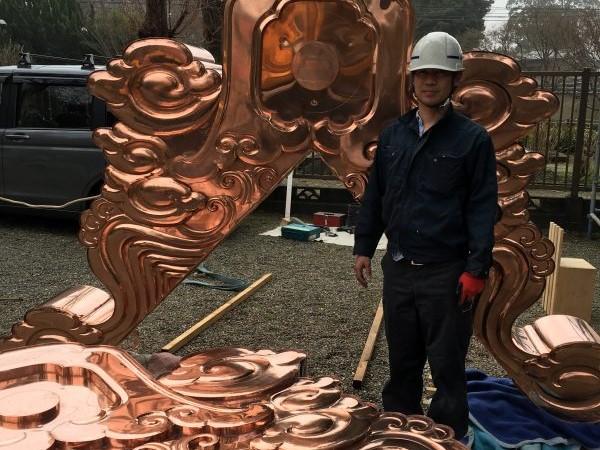 リフォーム施工中文化財 – 銅板鬼の交換工事【22】千葉県千葉市 大巌寺