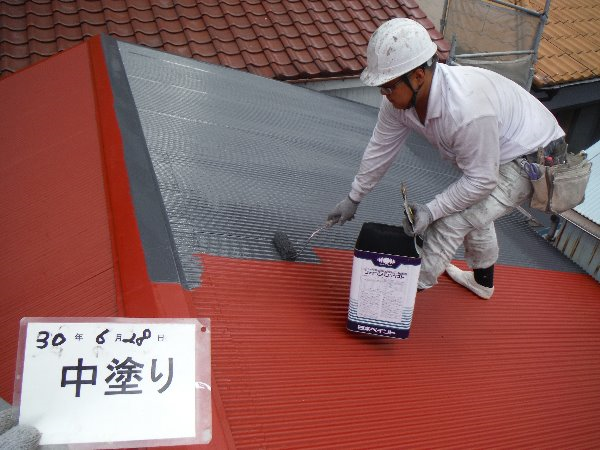 リフォーム施工中屋根塗装・外壁塗装【75】横浜市神奈川区S様
