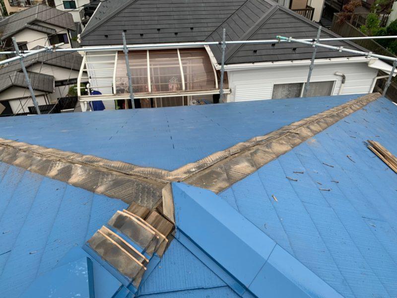 リフォーム施工中屋根重ね葺き工事【169】横浜市港南区S様