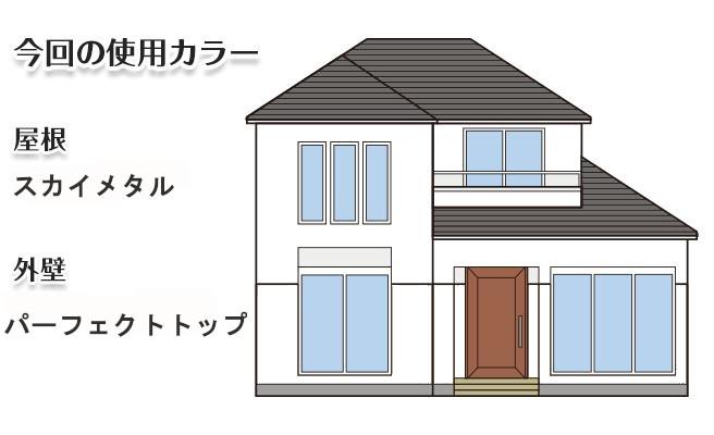 イラスト屋根重ね葺き工事、外壁塗装工事【195】川崎市Y様