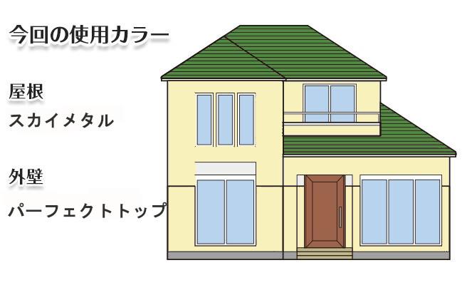 イラスト屋根重ね葺き工事、外壁塗装工事【191】川崎市麻生区K様