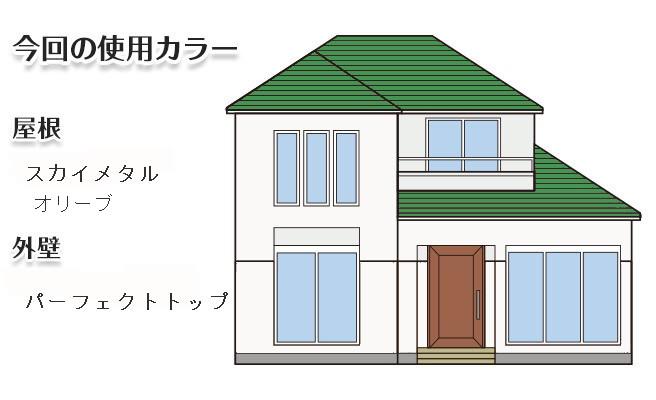 イラスト屋根重ね葺き工事、外壁塗装工事、雨樋交換工事【225】