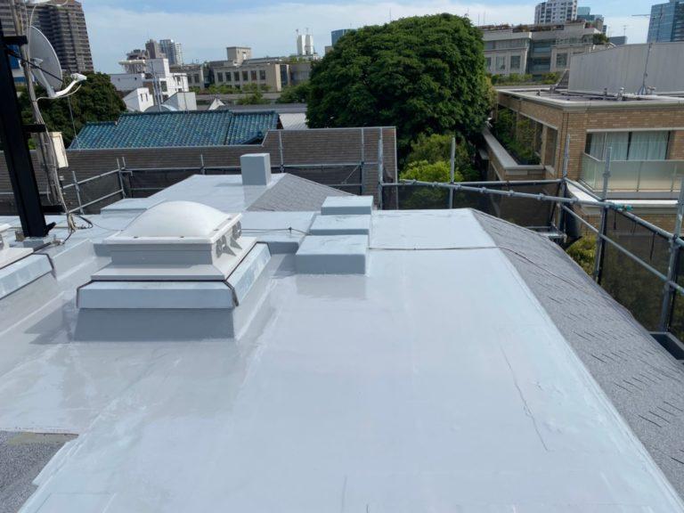 施工後屋根重ね葺き工事、屋上防水工事【209】東京都品川区