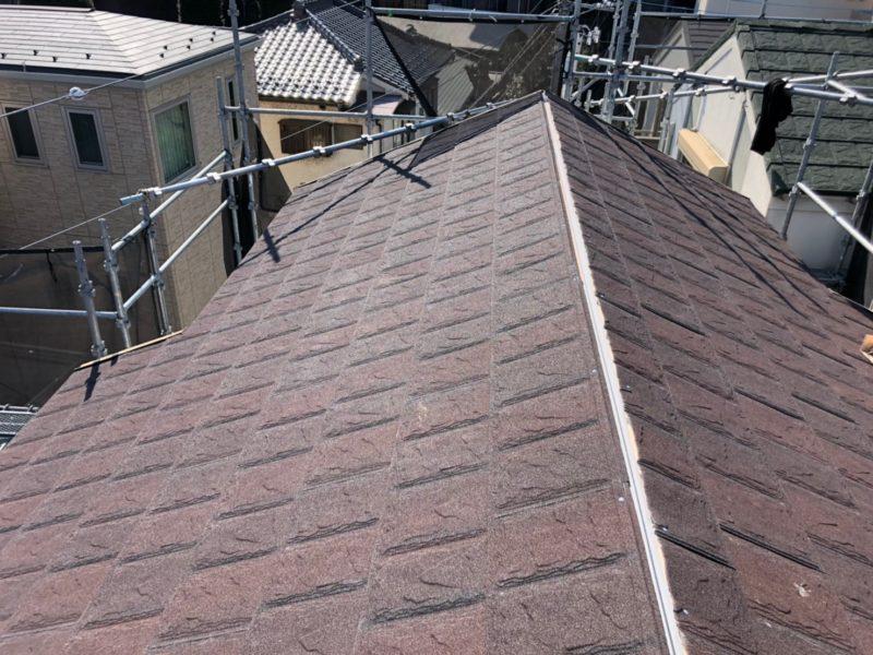 リフォーム施工中屋根重ね葺き工事、外壁塗装工事、【206】川崎市宮前区