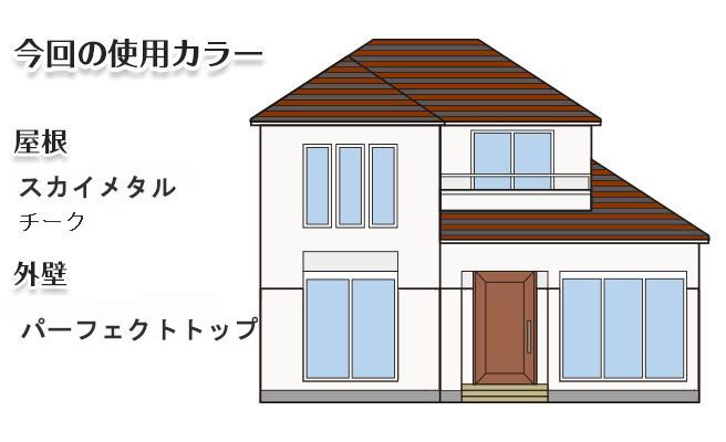 イラスト屋根重ね葺き工事、外壁塗装工事、【206】川崎市宮前区