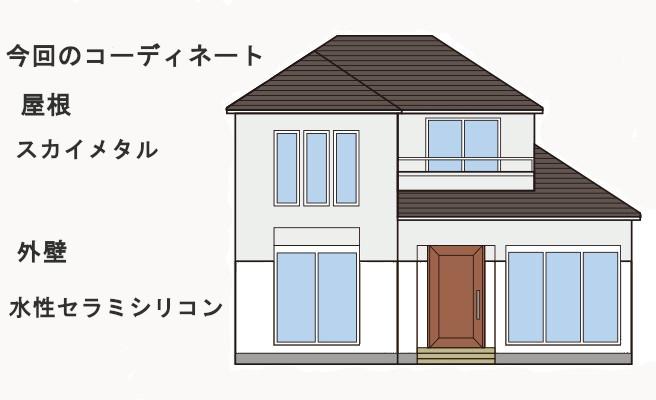 イラスト屋根重ね葺き工事、外壁塗装工事、シーリング工事【216】横浜市南区