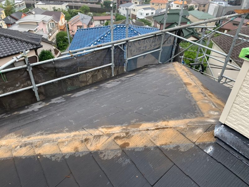 リフォーム施工中屋根重ね葺き工事、外壁塗装工事、外塀塗装工事、雨樋交換工事【223】