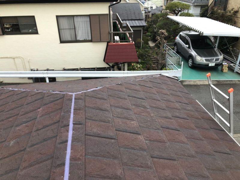 リフォーム施工中屋根重ね葺き工事、雨樋交換工事【238】