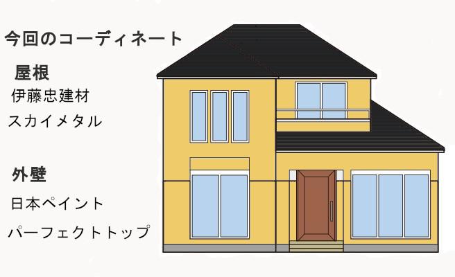 イラスト屋根重ね葺き工事、外壁塗装工事、雨樋交換工事【245】