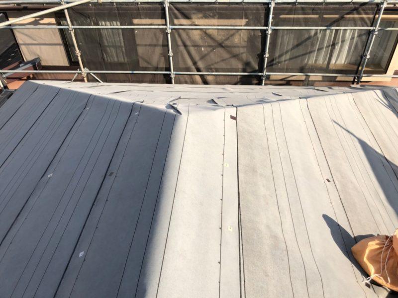 リフォーム施工中屋根重ね葺き工事【250】横浜市青葉区