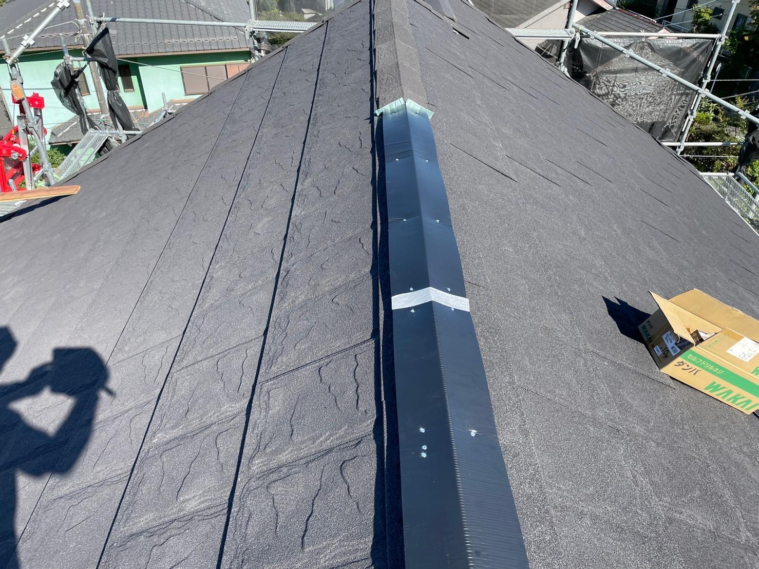 リフォーム施工中屋根重ね葺き工事、外壁塗装工事【279】横浜市磯子区